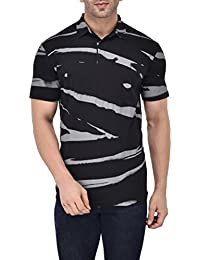 Vivid Bharti White Half Sleeve Printed Men's Polo Tshirt