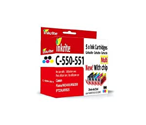 Inkrite Multipack Ink Cartridge for Canon PIXMA MG5450/PIXMA iP7250/PIXMA MG6350-PGI-550XL/CLI-551XL (Pack of 5)