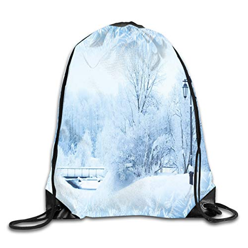 GONIESA Fashion New Drawstring Backpacks Bags Daypacks,Winter Trees In Wonderland Theme Christmas New Year Scenery Freezing ICY Weather,5 Liter Capacity Adjustable for Sport Gym Traveling