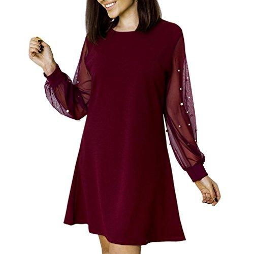 Robe Femmes, Toamen Femmes Robe à manches longues Mini robe de femme en perspective Col rond Maille perlée Perler Engrener Couleur unie Décontractée O-cou Mode (XL, Vin rouge)