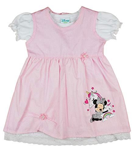 Disney Minnie Mouse Baby LATZKLEID-Set mit festlichem T-Shirt in GRÖSSE 74 80 86 92 98 104 im süßen Kleidchen-Look, T-Shirt Druck-Knöpfen in Weiß und Rosa Größe 92 (Minnie Standard Kostüme)