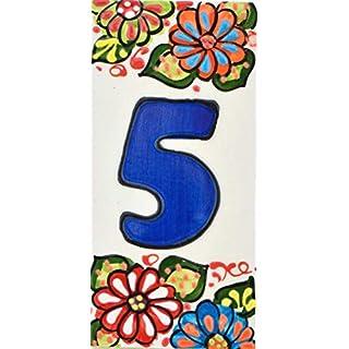Hausnummer. Schilder mit Zahlen und Nummern auf Keramikkachel. Handgemalte Kordeltechnik fuer Schilder mit Namen, Adressen und Wegweisern. Design JARDIN 14,5 cm x 7 cm (Nummer FUNF