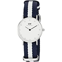 Daniel Wellington Women's Quartz Watch with White Dial Analogue Display and Multicolour Nylon Strap 0928DW