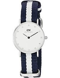 Daniel Wellington 0928DW - Reloj con correa de nailon para mujer, color blanco / azul