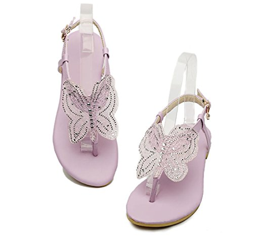UH Sandales Femmes Bout Ouvert à Talons Plates Confortables de Boucles en Lanières en T avec Papillon Violet