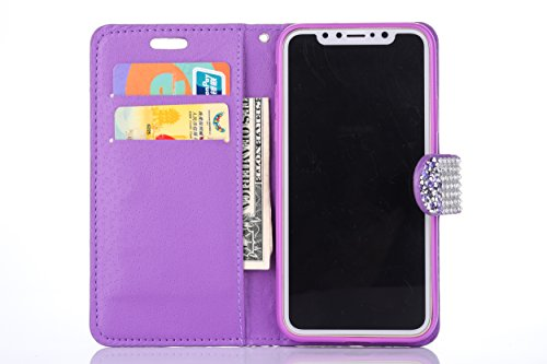 Magnetico Cover per iPhone X/iPhone 10, Pelle Wallet Perla Wallet Premium PU e Glitter Brillanti 3D Strass Cover - Bonice Custodia Morbido Case Libro Leather, Magnetico Flip Protettiva Portafoglio, ID Viola