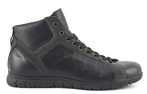 Sneakers alta allacciata in pelle nera Cafè Noir art. PM112
