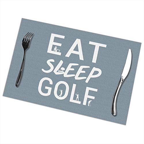 Dimension Art Eat Sleep Golf Placemats Set of 6 for Dining Table Washable Polyester Placemat Non-Slip Wear and Heat Resistant Kitchen Table Mats Easy to Clean (Scratch Golf Bälle)
