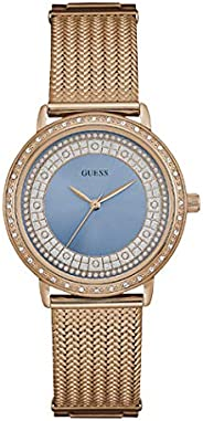Guess Women's Blue Dial Stainless Steel Band Watch - W08