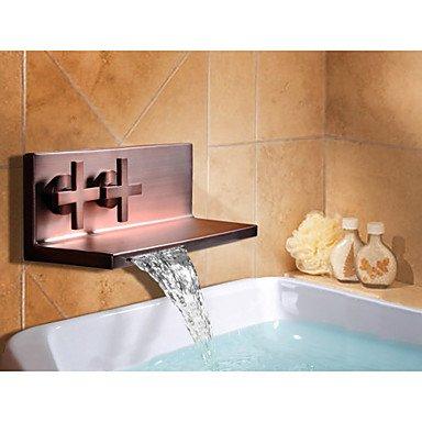 lozse Zwei Griff Öl eingerieben Bronze Wasserfall Wandhalterung Badezimmer Bad Waschbecken Wasserhahn Wasserhahn