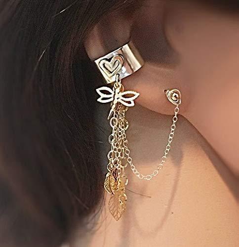 FloweRainboW Silber und Gold Ohr Manschette - Kein Helix Piercing Ohr Klemme - Herz Ohrringe Mit Anhänger - Herz-manschette