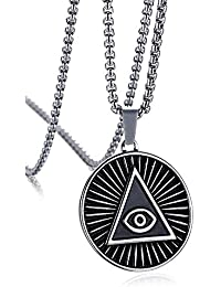 d07fb14ff457 XBMEN Acero Inoxidable Triángulo Illuminati Ojo de la Providencia Todo  Collar Pendiente Redondo del Ojo Que