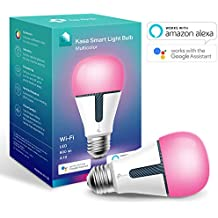 Kasa Smart Bulb by TP-link, WiFi Smart Switch, E27, 10W, Works with Amazon Alexa (Echo and Echo Dot) and Google Home, Colour-Changeable, Dimmable, No Hub Required (KL130) [Energy Class A+]