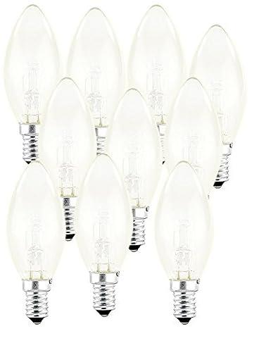 Luminea Halogen Leuchtmittel E14: Halogen-Kerze, E14, 42 Watt, 625 Lumen, warmweiß, 10er-Set (Kerzenlampe E14)
