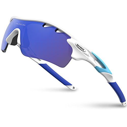 RIVBOS RBS901 TR90 Gafas de Sol Marco Polarizadas para Ciclismo para Hombres Mujeres Deportes Sport Ciclismo esquí Squash Montaña PC Blanco&Azul