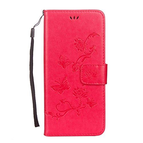 Etsue Schmetterling Schutzhülle Handytasche für iPhone 6s Plus/iPhone 6 Plus Lederhülle Flip Tasche Case Leder Flip Hülle, iPhone 6s Plus/iPhone 6 Plus Muster Butterfly Blumen Luxus Vintage Handyhülle Schmetterling Hot Pink