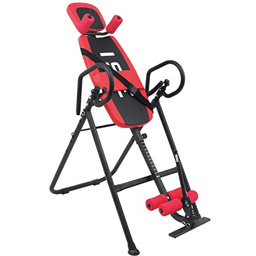 ISE Inversionsbank mit 6 Inversionswinkel klappbarer Schwerkrafttrainer Inversion Table Rücktrainer verstellbar 0-180°Nutzergewicht bis 135 kg,Köpergröße 155-198cm,Sicherheit geprüft (Rot)