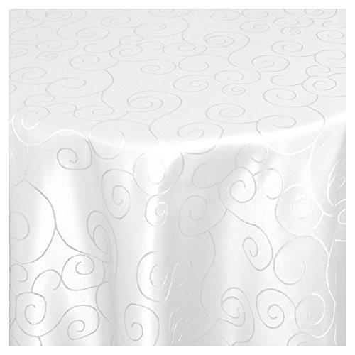 """Moderno Ornamente Tischdecke oval 140x190 cm im Damast Stil Farbe """"Weiss"""""""