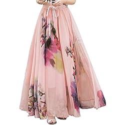 DEBAIJIA Falda Larga Mujer Maxi Bohemia Playa Vacaciones Gasa con Estampado Floral Talla Grande Cintura Elástica Rosa Claro - L
