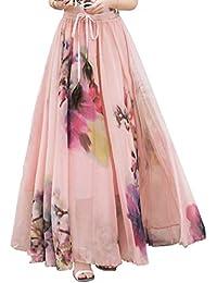 DEBAIJIA Falda Larga Mujer Maxi Bohemia Playa Vacaciones Gasa con Estampado  Floral Talla Grande Cintura Elástica db14be8b29e3