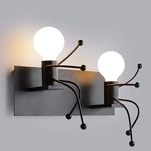 HAIZHEN Bügeleisen Kunst Puppe Wandleuchte Einfach Kreativität Schlafzimmer Bett Deko Leuchte 40 * 28 * 17 cm Schwarz [Energieeffizienz A+]