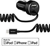 iPhone Car Charger, Saxhorn 4.8A Apple Lightning Car Charger with Tangle-Free Coiled Cable for iPhone 6S, 6S Plus, SE, 6, 5, 5S, 5, iPad - Black