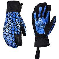 HuanXin-G621 Pantalla táctil Guantes de esquí Adultos a Prueba de Viento, Hombres y Mujeres a Prueba de Agua, Motocicleta Exterior Guantes Gruesos cálidos Azules
