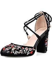 34b024b87b6a53 SERAPH M438 Damen Block High Heels Pumps Kreuzgurt bestickte Blume runde  Zehe Schuhe Sandalen