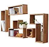 INMAN HOME 5 Tetris-förmige Wandregale, würfelförmig, massives Eichenholz, quadratische Boxen, CD-Display, Organizer, Moderne Heimdekoration, Holz, Eiche, Irregular Square Shape