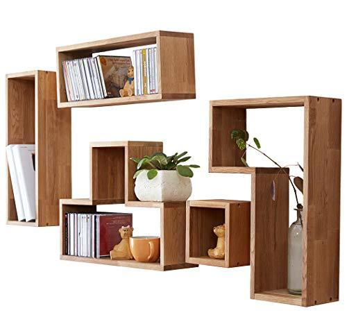 INMAN HOME 5 Tetris-förmige Wandregale, würfelförmig, massives Eichenholz, quadratische Boxen, CD-Display, Organizer, Moderne Heimdekoration, Holz, Eiche, Irregular Square Shape (Regal-display-box)