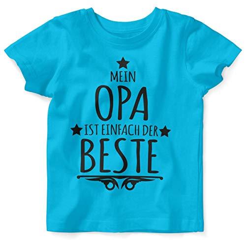 T-Shirt mit Spruch für Jungen Mädchen Unisex Kurzarm Mein Opa ist einfach der Beste | handbedruckt in Deutschland | Handmade with Love, Farbe:Atoll, Grösse:80/86 ()
