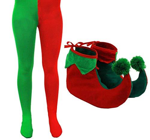 Erwachsene Elf Strumpfhose mit Elf Schuhe Weihnachten Fancy Dress Zubehör Herren Damen UK 6-26s-xxxxlarge grün & rot Strumpfhose mit Grün & Rot Stiefel mit Pompon