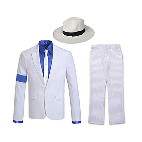 Nach Maß Michael Jackson Smooth Criminal Suit Michael Jackson Cosplay Kostüm für Kinder Erwachsene Jacke Anzug,Tops + Hose + Shirt + Krawatte + Hut