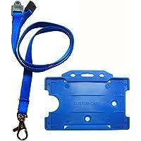 Customcard ltd azul Lanyard correa para el cuello (Clip de Metal), y azul titular de la tarjeta de identificación...
