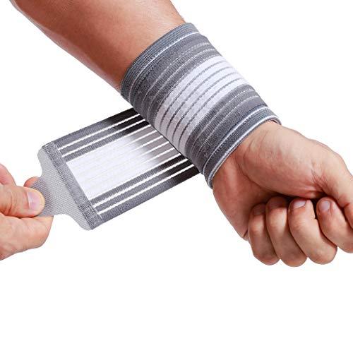 Neotech Care Handgelenkmanschette zur Unterstützung (1 Einheit) - verstellbarer Kompressionsriemen - elastischer & atmungsaktiver Stoff - Tennis, Sport - Herren, Damen, rechts oder links - Grau (S) -