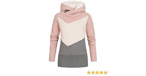 Seventyseven Lifestyle Damen Colorblock Hoodie Kapuze breiter Bund rosa Weiss grau