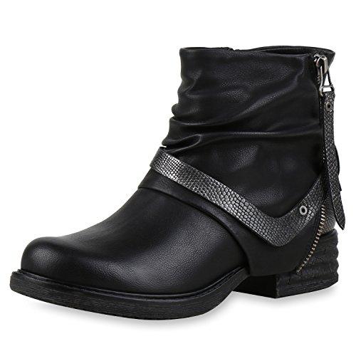 Damen Stiefeletten Biker Boots Nieten Schnallen Lederoptik Schwarz Zip