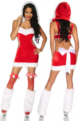 Weihnachts-Kostüm Kleid, Mütze, Stulpen rot, Größe (Glas Milch Kostüme)