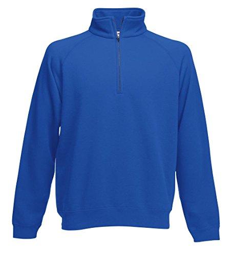 Fruit of the Loom: Zip Neck Sweat 62-114-0, Größe:S;Farbe:Royal (Männer-hemd Royal Blau)