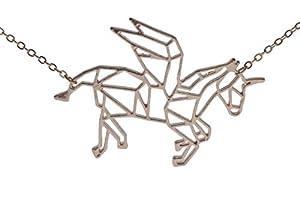 pretty_awesome Kette Einhorn Unicorn Origami Geometrie Statementkette, Farbe: roségold, mit Schmuckbeutel