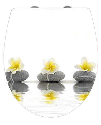 WENKO 21748100 WC-Sitz Hochglanz Acryl Stones with Flower Toilettensitz, Absenkautomatik, Fix-Clip Hygiene Befestigung, 38,8 x 45 cm, weiß -