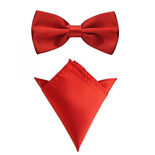 Rusty Bob - Fliege mit Einstecktuch in verschiedenen Farben (bis 48 cm Halsumfang) - zur Konfirmation, zum Anzug, zum Smoking - im 2er-Set - Rot-Fuchsia (2-knopf-smoking)