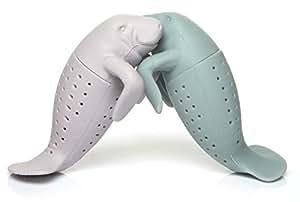 Infusore da te filtro colino te e tisane in foglia a forma di lamantino in silicone grigio e Rosa . Set da 2 pezzi. Idea regalo originale per coppie