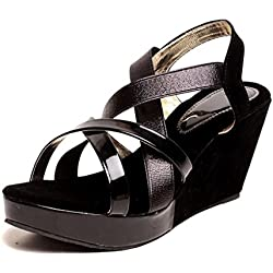 Feel It Comfortable Leatherite Casual/Formal/Partywear Wedges Footwear for Women's & Girl's - 543-BLK,GLDN-P