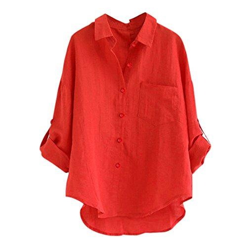 KUDICO Damen Tops Sale Clearance Stand Kragen Knopf Lange Ärmel Hemd lässige lockere Bluse T-Shirt Pullover, ()