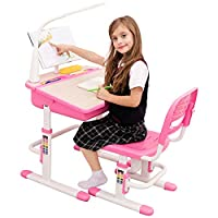 Children Study Desk Height Adjustable Kids Table with LED Lamp Bookstand Traditional School Desk - ChaCha