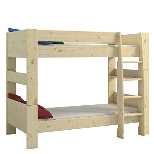 Steens For Kids Kinderbett, Etagenbett inkl. Lattenrost und Absturzsicherung, Liegefläche 90 x 200 cm, Kiefer massiv, natur lackiert