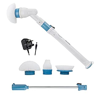 AMOS Super Scrubber Rechargeable Cordless Toilet Bathroom Kitchen 300RPM Spin Cleaning Brush with 3 Replaceable Brush Heads & Extendable Handle