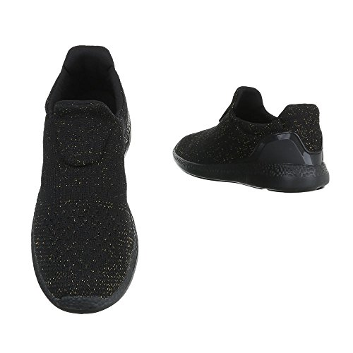 Slipper Damenschuhe Herrenschuhe Leichte Unisex Sneakers Ital-Design Halbschuhe Schwarz Gold BY3106