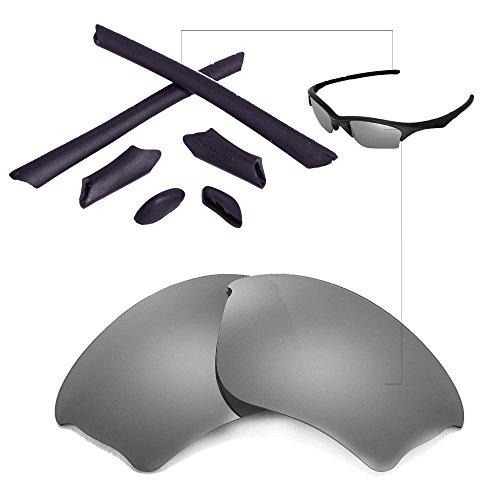 Walleva Ersatzgläser oder Linsen/Gummisatz für Oakley Half Jacket XLJ Sonnenbrille - 41 Optionen (Titan Polarisierte Linsen + Schwarzer Gummi)